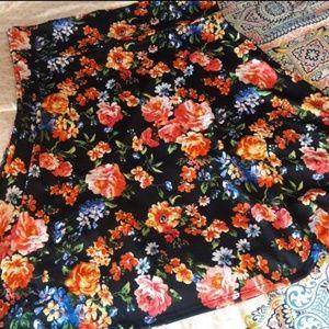 Black Background Lularoe Floral Azure Skirt 2X